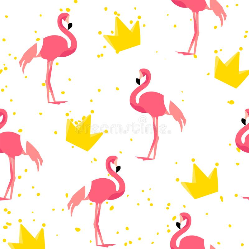 Cute pattern with flamingo and crown on white background. Ornament for textile and wrapping. Vector royalty free illustration
