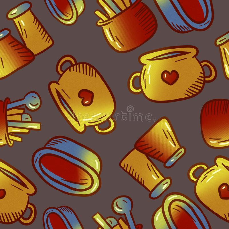 Cute pattern of kitchenware and utensils illustrations. Elements for desig stock images