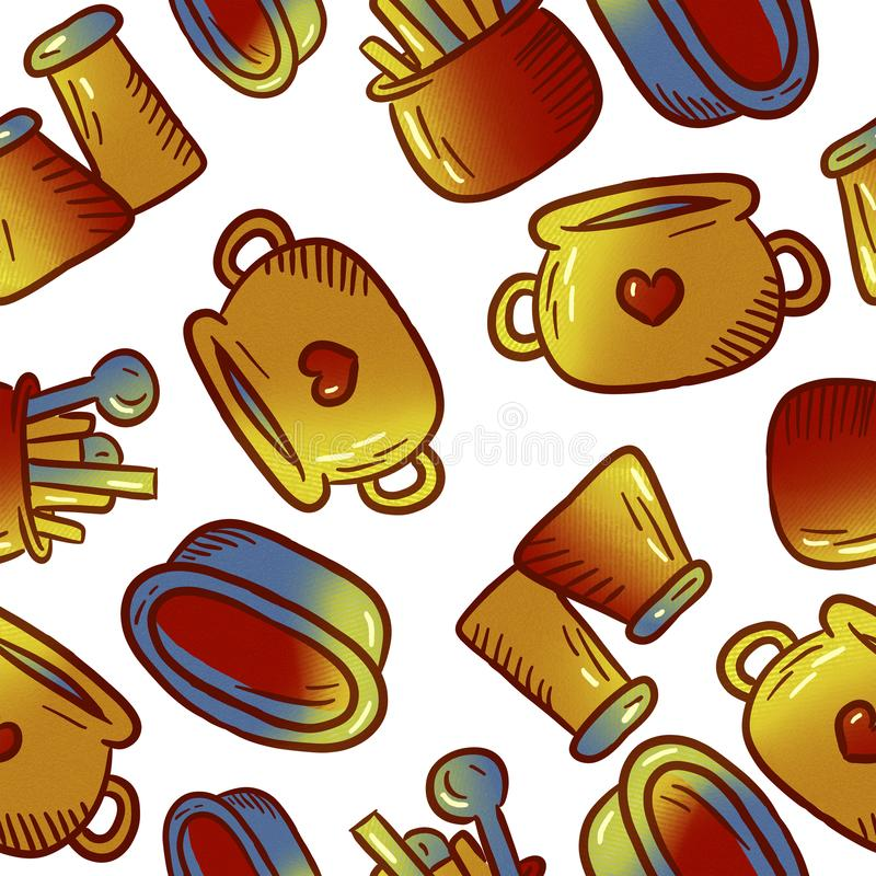 Cute pattern of kitchenware and utensils illustrations. royalty free stock photo