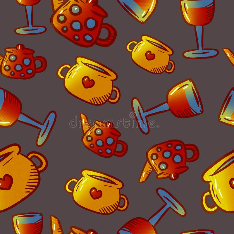 Cute pattern of kitchenware and utensils illustrations. Elements for desig royalty free stock photography