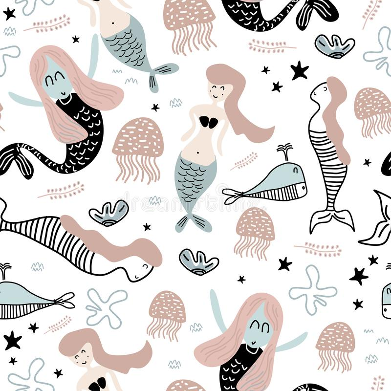Cute pattern of mermaid and starfish seamless drawing. Funny illustration of sea world for baby fashion textile print royalty free illustration