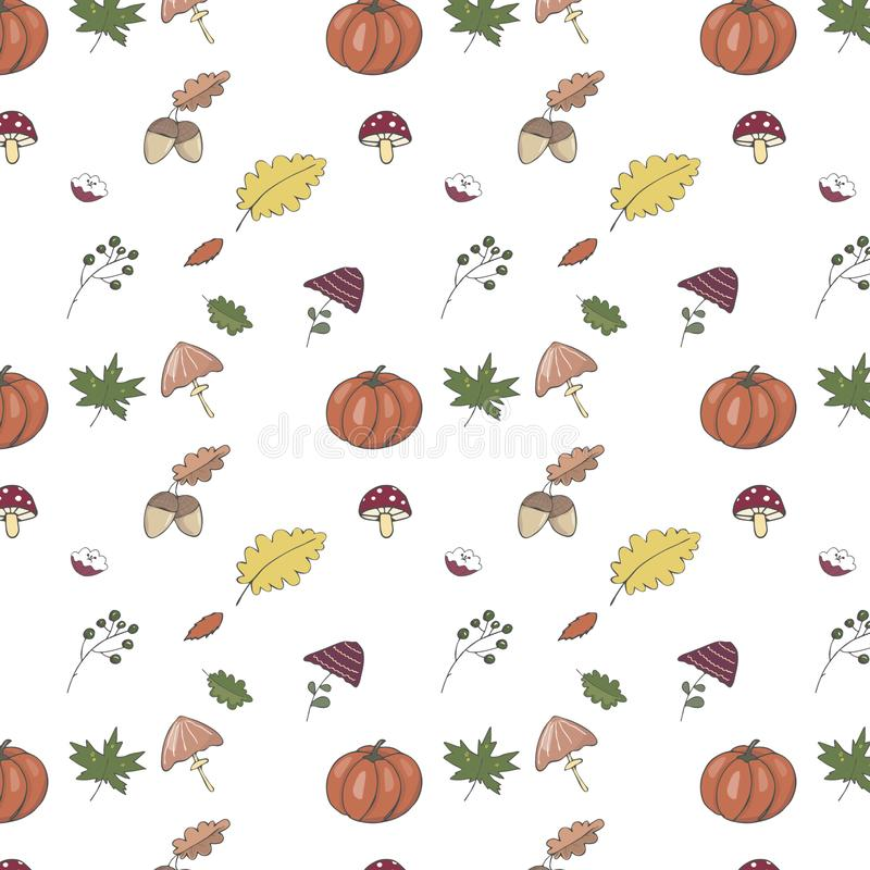 Cute pattern with orange pumpkin, yellow leaves, mushrooms, green leaf, nut, oak, acorn. For the season of harvest or Thanksgiving royalty free illustration