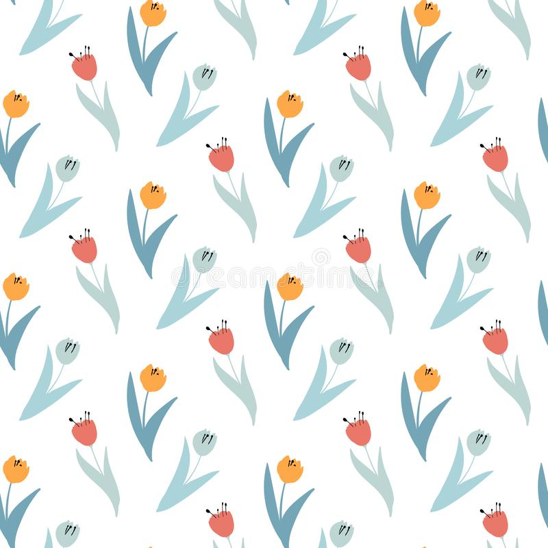 Cute pattern in small wildflowers and tulips. Seamless background and seamless border. Vector illustration.erfect for wallpaper, gift paper, web page royalty free illustration