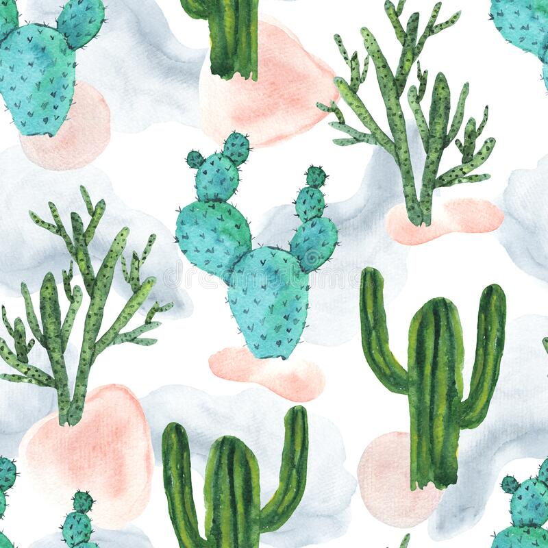 Free Cute Pattern With Bright Watercolor Cactus Stock Photography - 208668792