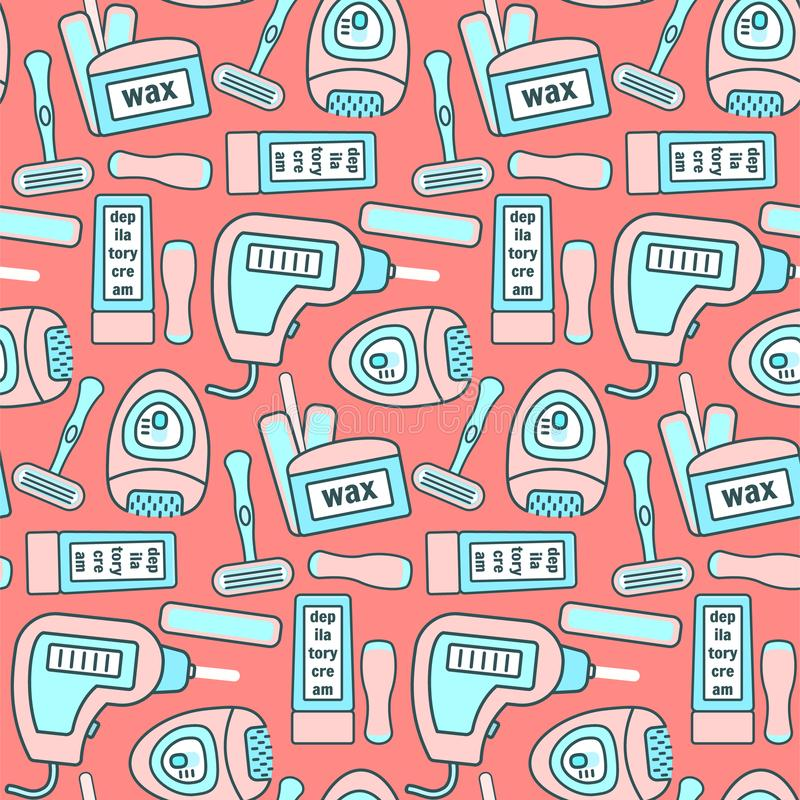 Cute pattern with hair removal equipments. Cute peach color seamless pattern with pink and blue hair removal equipments. Girlish epilatory and depilatory texture royalty free illustration