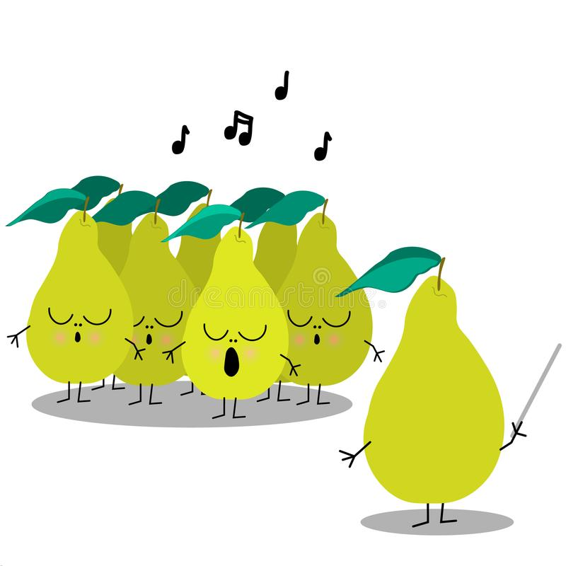 Singing pears chorus, cartoon flat characters for funny design. Cute pears chorus in a cartoon style with chorus master. Flat design, vector illustration royalty free illustration