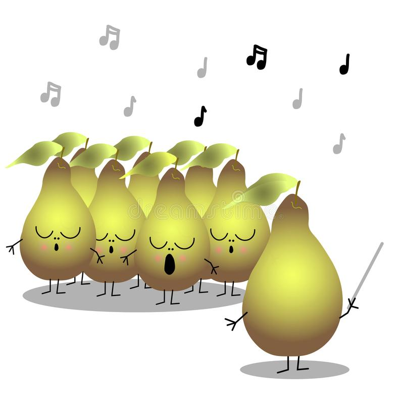 Singing pears chorus, cartoon flat characters for funny design. Cute pears chorus in a cartoon style with chorus master. Flat design, vector illustration vector illustration