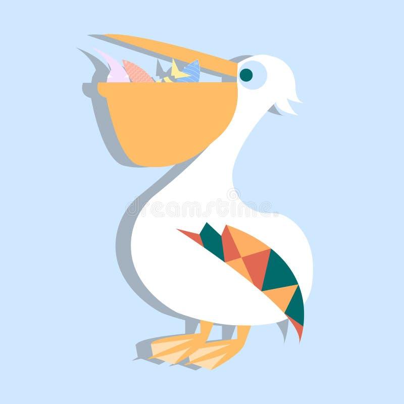 Cute pelican vector cartoon illustration. Wild zoo animal icon. Adorable bird childish character. Simple flat design element for k stock illustration