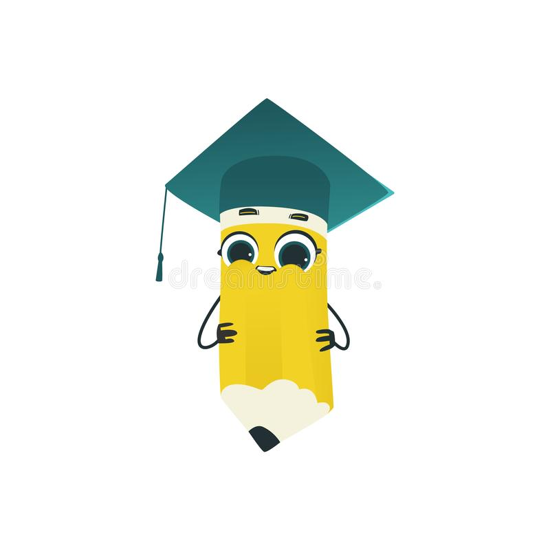 Cute pencil cartoon character in square academic cap isolated on white background. Cute pencil cartoon character in square academic cap isolated on white stock illustration