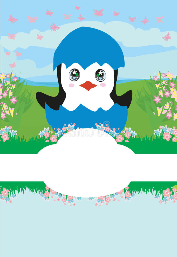 Download Cute Penguin Baby Shower Card Stock Vector   Image: 93338182