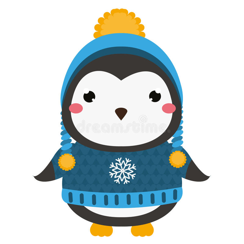 Cute penguin. Cartoon kawaii animal character. Vector illustration for kids and babies fashion. Cute penguin in knitted sweater and winter hat. Cartoon kawaii royalty free illustration