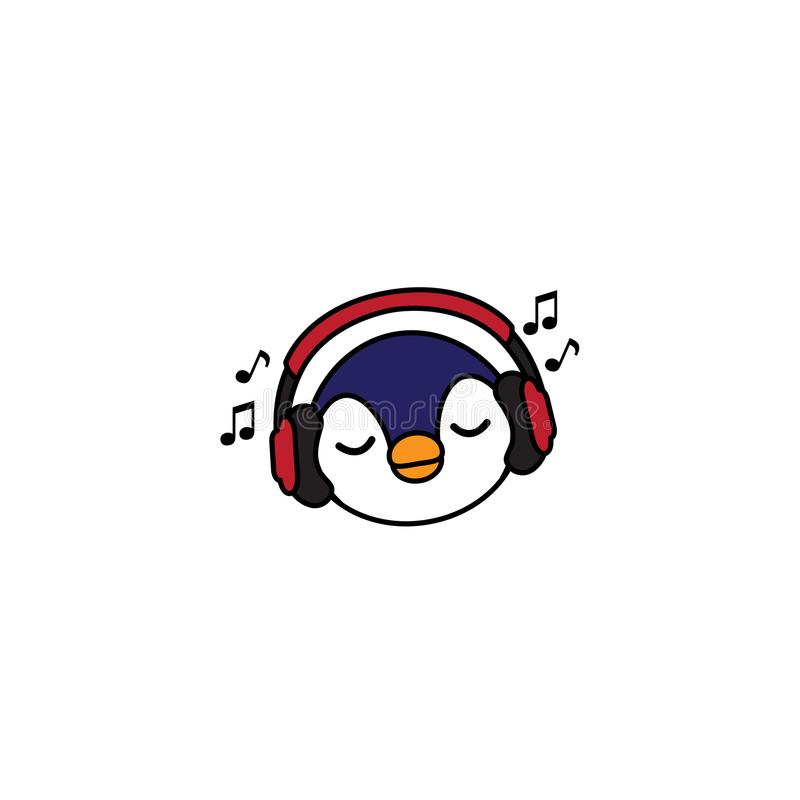 Cute penguin cartoon with red headphones, baby penguin listening music icon vector illustration