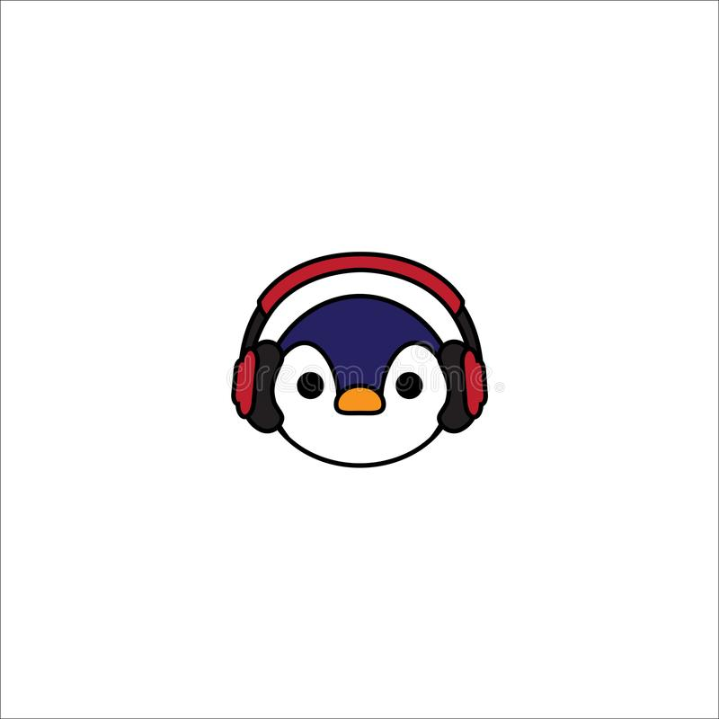 Cute penguin cartoon with red headphones icon vector illustration
