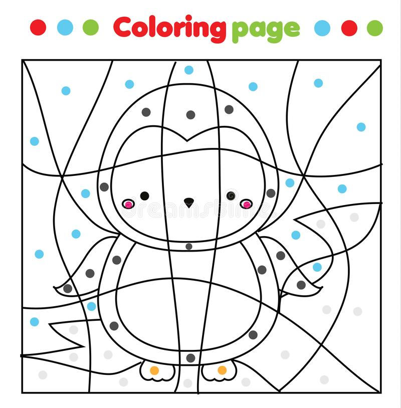 Cute Penguin Coloring Page. Color By Dots, Printable Activity. Worksheet  For Toddlers And Pre School Age. Children Educational Stock Vector -  Illustration Of Kindergarten, Coloring: 166389378