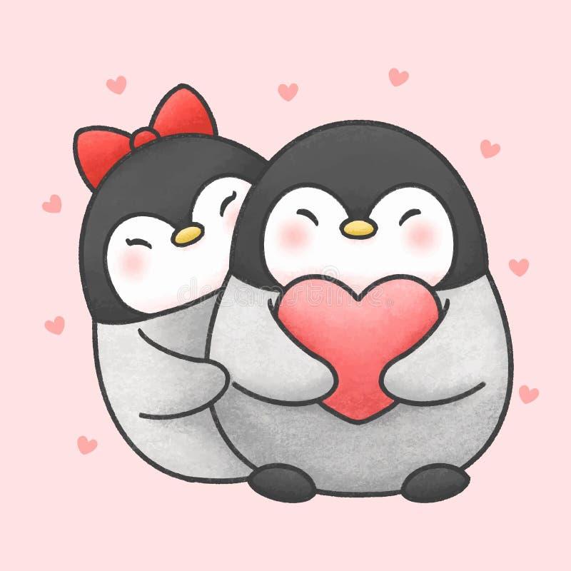 Cute penguin couple cartoon hand drawn style royalty free illustration