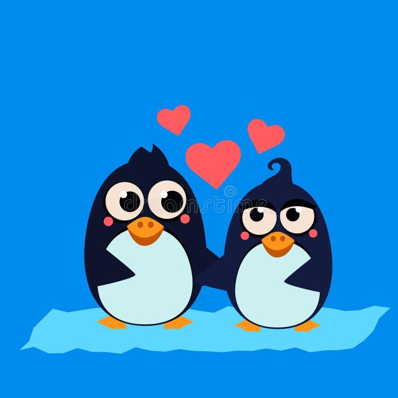 Cute Penguin Couple in Love. Vector Illustration stock illustration