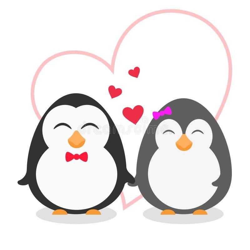 Cute Penguin Couple on White Background stock illustration