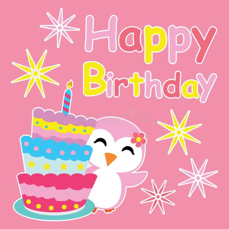 Cute Penguin Girl Smiles Beside Birthday Cake Cartoon Birthday