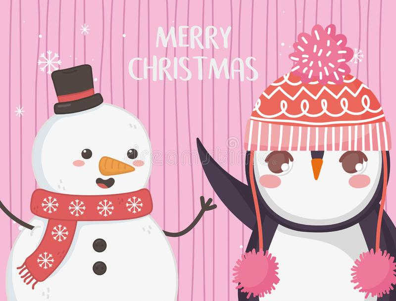 Cute penguin and snowman with hat merry christmas. Vector illustration stock illustration