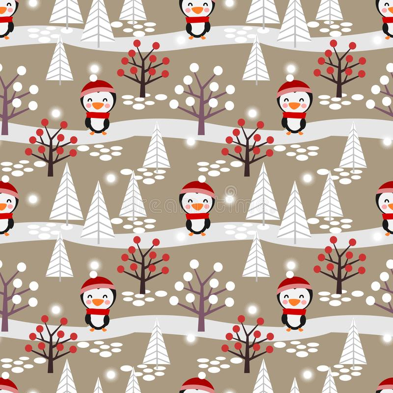 Cute penguin in the winter forest seamless pattern royalty free illustration
