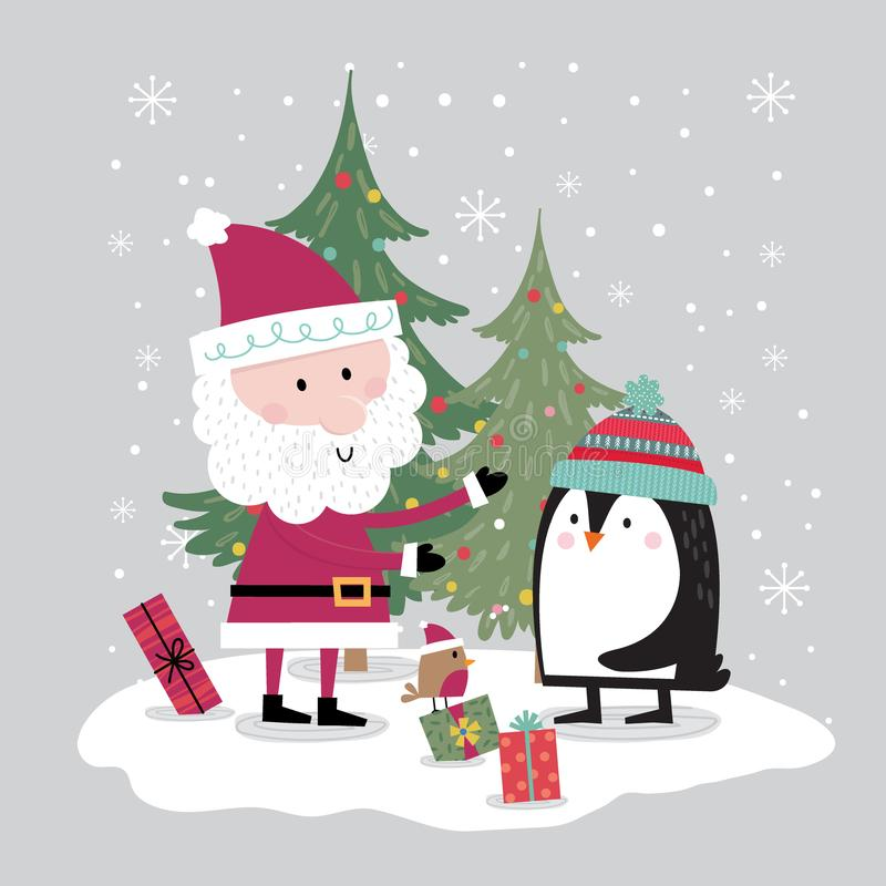 Cute penguins meet Santa on the Christmas celebration and are attended by little robins vector illustration