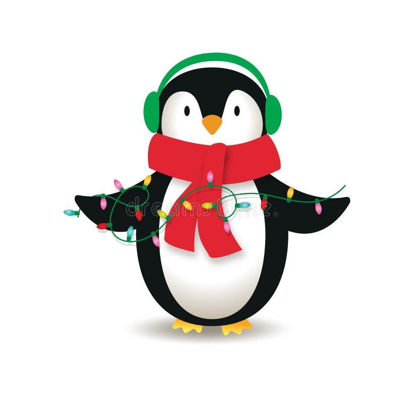 Cute penguins are wearing headphones stock illustration