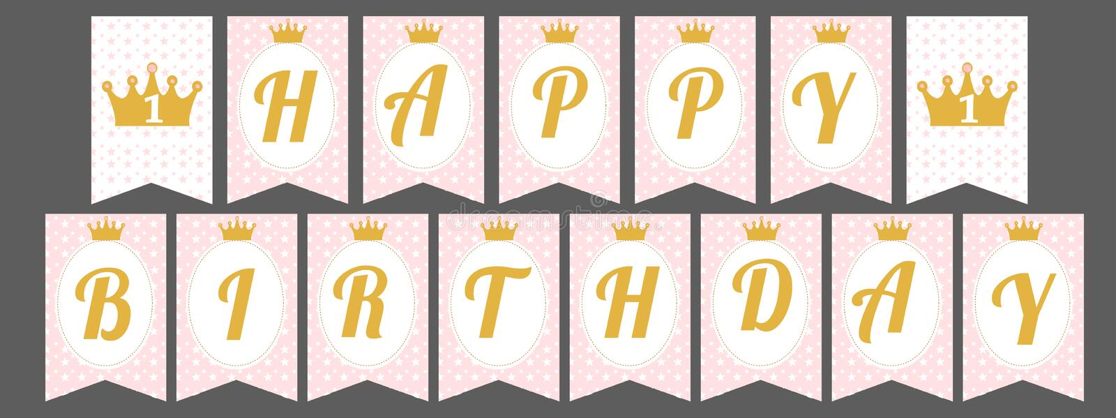 Cute pennant banner as flags with letters Happy Birthday in princess style. vector illustration