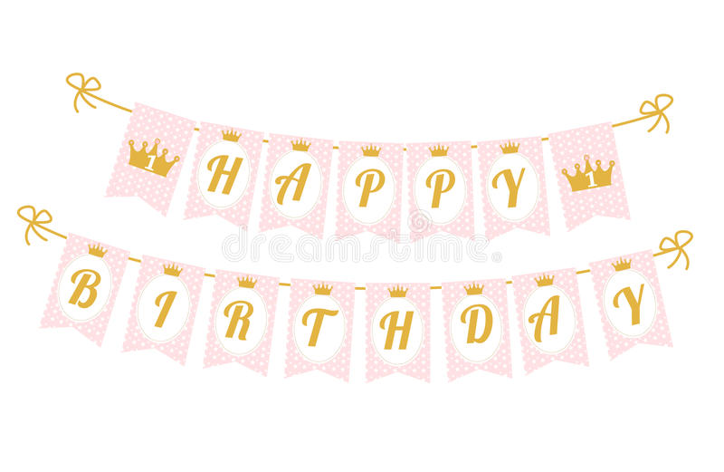Cute Pennant Banner As Flags With Letters Happy Birthday In Princess ...