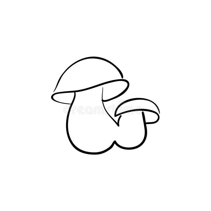 Cute penny bun mushroom is growing in the grass. The beautiful small brown cap of a cep is in the focus. It is vegetarian diet royalty free illustration