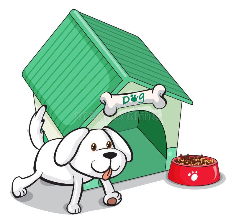A cute pet outside the pethouse. Illustration of a cute pet outside the pethouse on a white background vector illustration