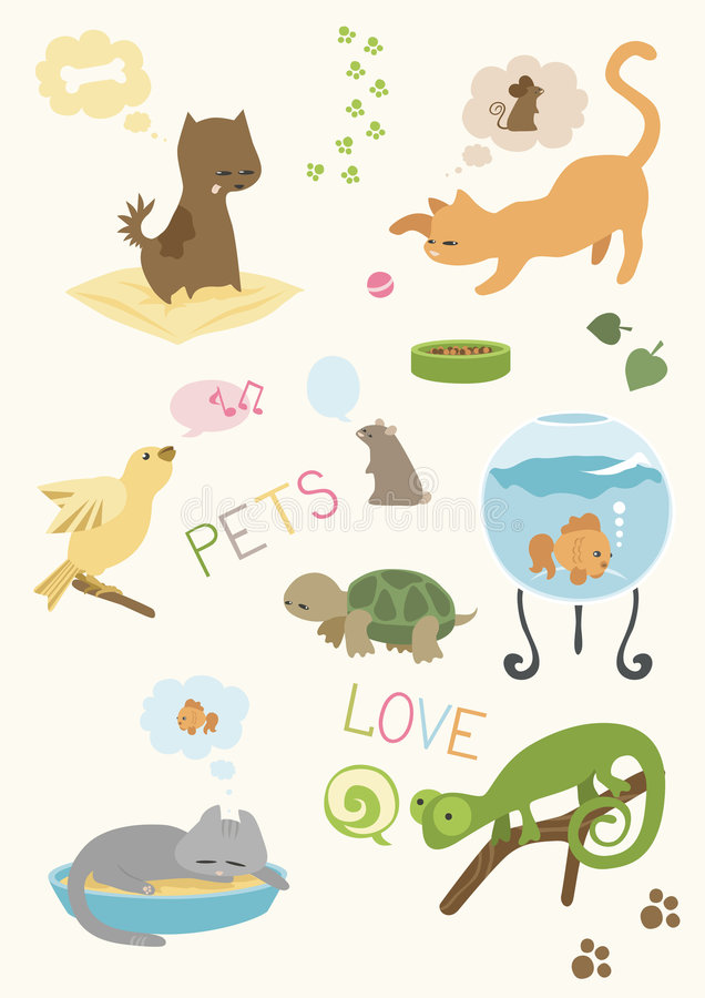 Free Cute Pets  Set Royalty Free Stock Photos - 9045418