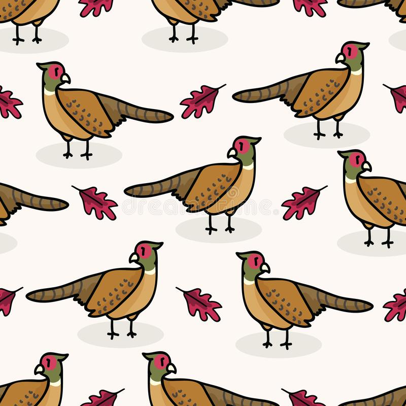 Cute pheasant cartoon seamless vector pattern background. Oak leaf graphic tile. stock illustration