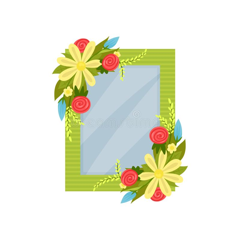 Cute photo frame with flowers, album template for kids with space for photo or text, card, picture frame vector. Illustration isolated on a white background vector illustration