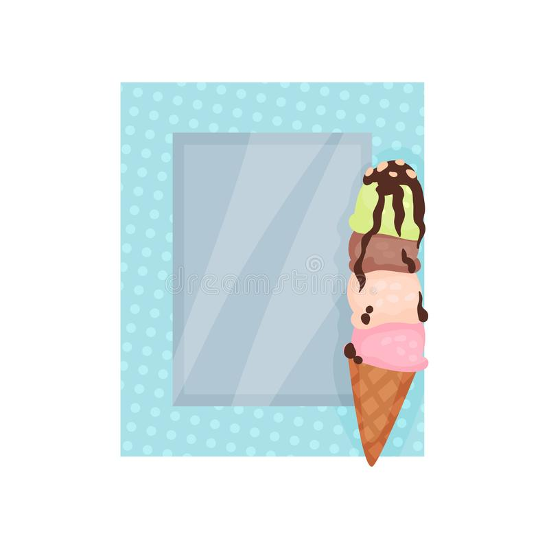 Cute photo frame with ice cream, album template for kids with space for photo or text, card, picture frame vector. Illustration isolated on a white background royalty free illustration