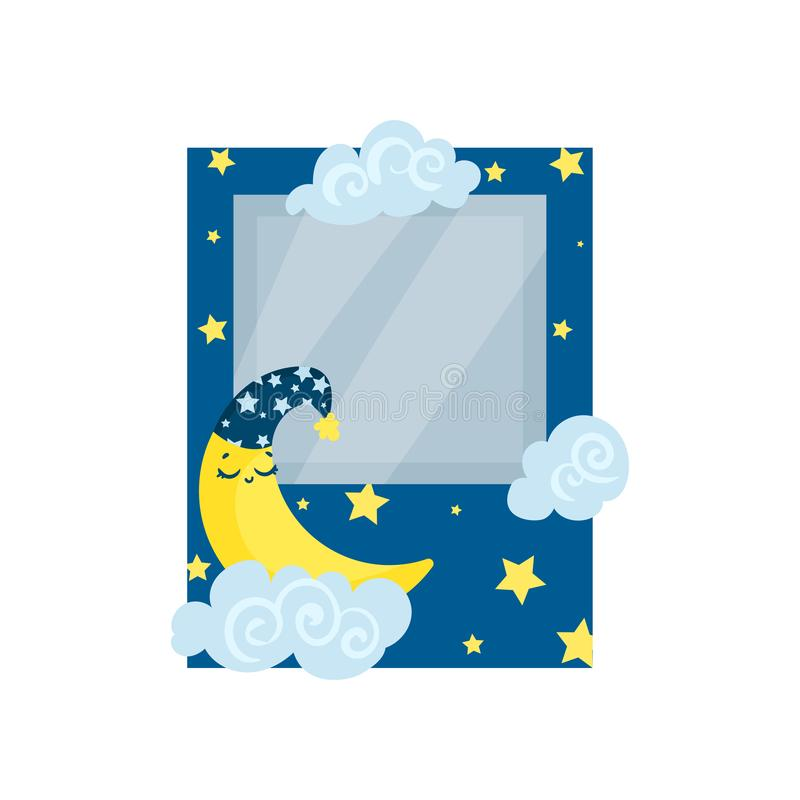 Cute photo frame with moon, stars and clouds, album template for kids with space for photo or text, card, picture frame. Vector Illustration isolated on a white stock illustration