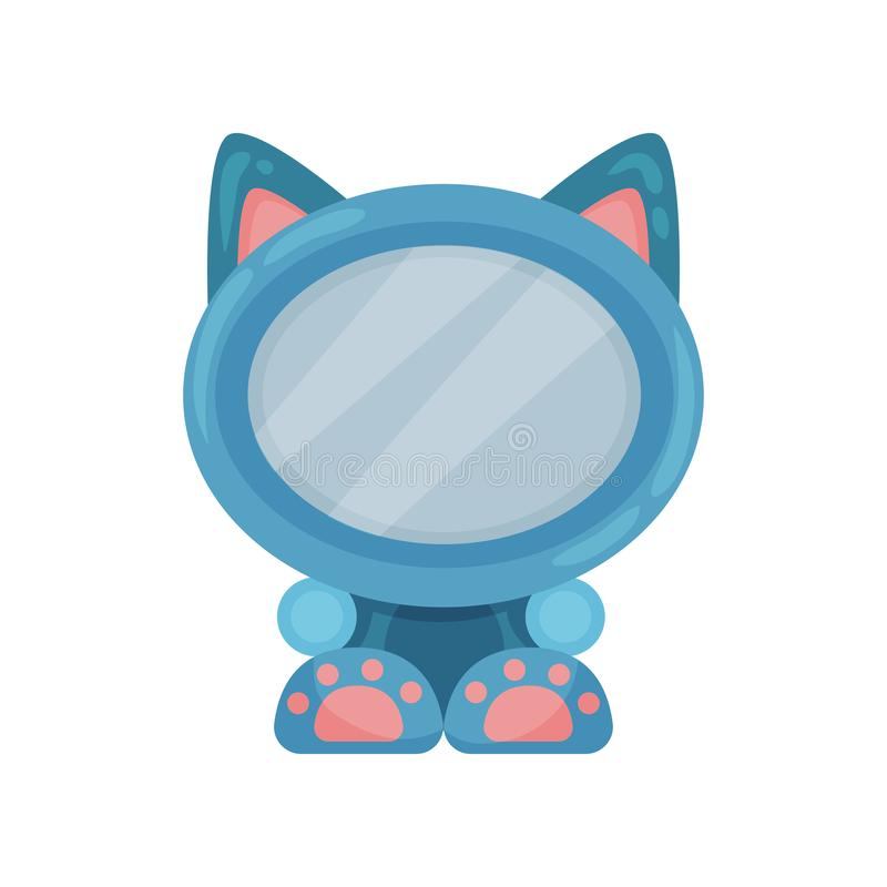 Cute photo frame in the shape of cat, album template for kids with space for photo or text, card, picture frame vector. Illustration isolated on a white vector illustration
