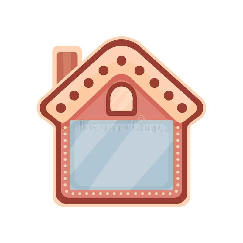 Cute photo frame in the shape of house, album template for kids with space for photo or text, card, picture frame vector. Illustration isolated on a white vector illustration