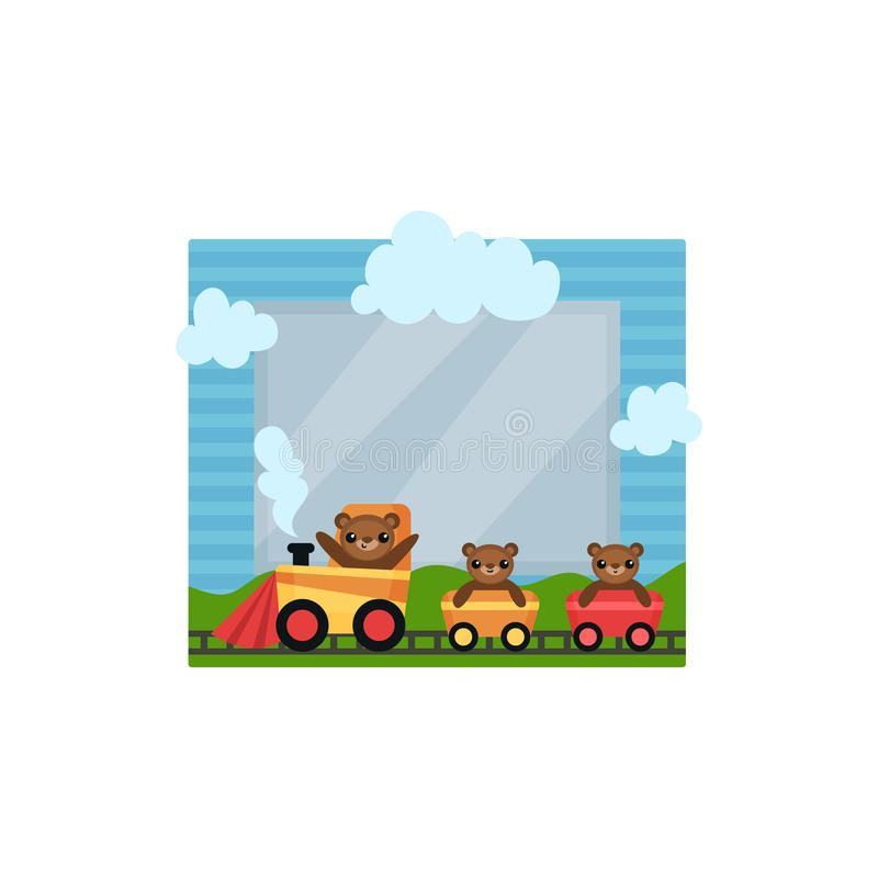 Cute photo frame with toy train, album template for kids with space for photo or text, card, picture frame vector. Illustration isolated on a white background vector illustration
