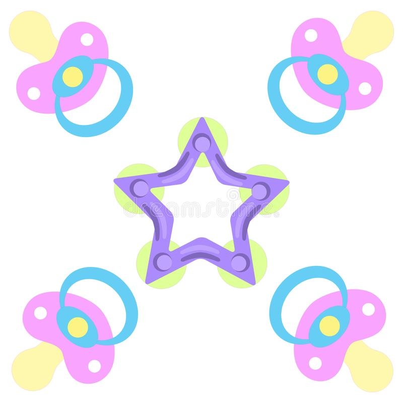 Cute picture of a baby pacifiers and teething ring. On a white background vector illustration