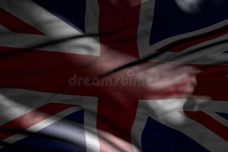 Cute picture of dark United Kingdom UK flag with folds lying in shadows with light spots on it - any celebration flag 3d. Nice memorial day flag 3d illustration royalty free illustration