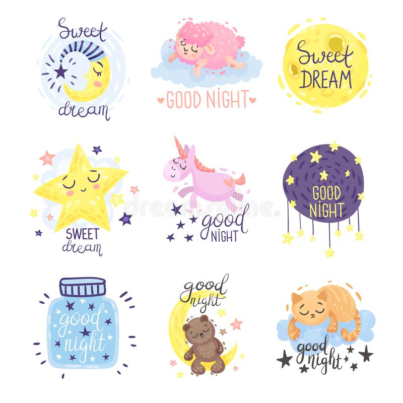 Cute pictures with the inscription Good night. Vector illustration on a white background. Cute pictures with a bear, moon, cat, star and the inscription Good royalty free illustration