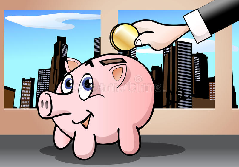 Download Cute pig bank stock illustration. Illustration of domestic - 19443489