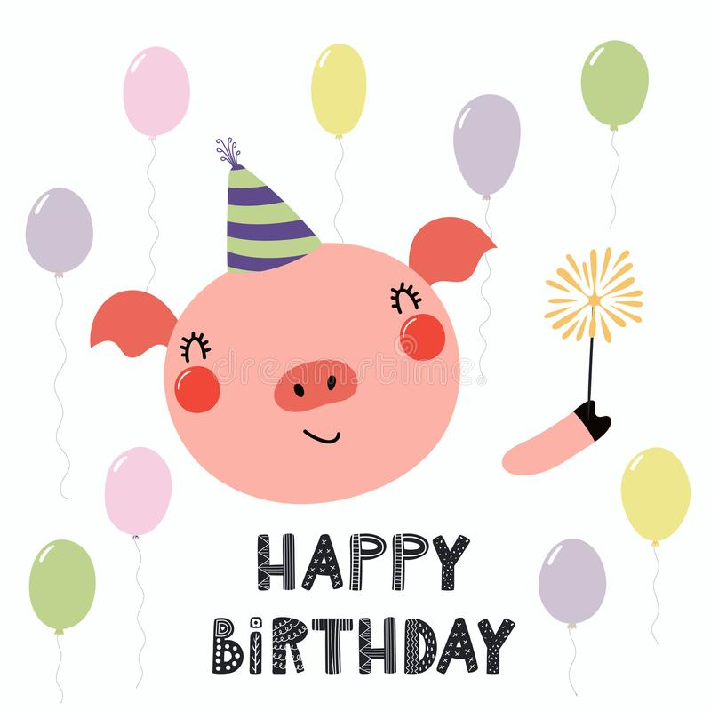 Cute Pig Birthday Card Stock Illustration Illustration Of Balloons