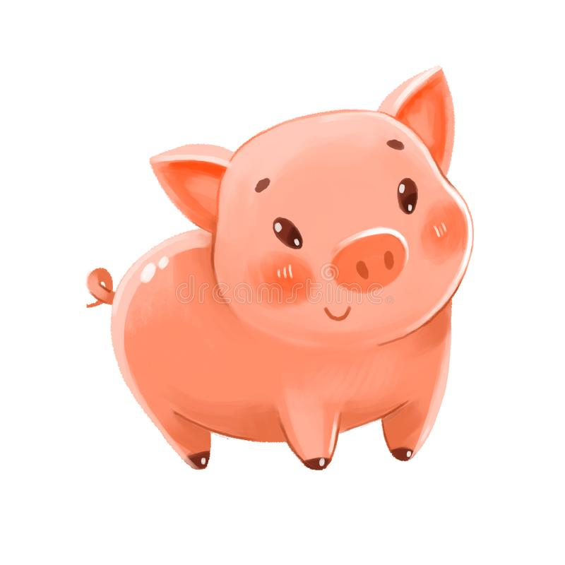 Cute pig. Can be used as a symbol of the New Year or Piggy Bank. Funny cartoon character. Isolated on white background. Hand-drawing Illustration royalty free illustration