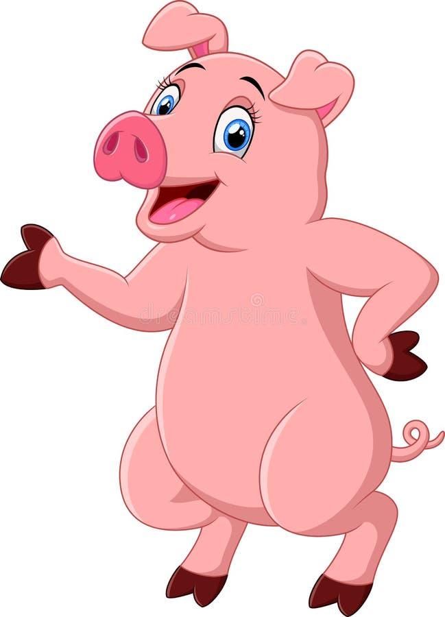Cute pig cartoon presenting stock illustration
