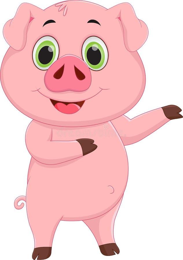 Cute pig cartoon waving royalty free illustration