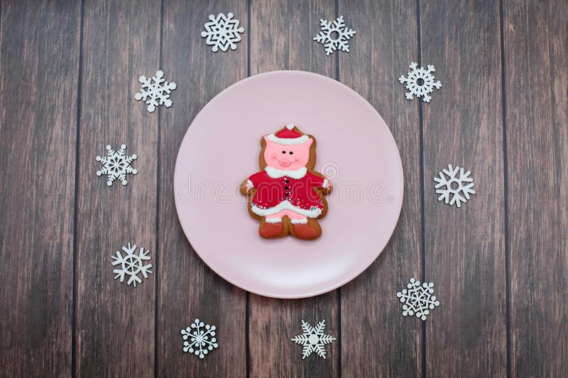 Cute Pig Cookie Gingerbread Symbol of Year on plate and snowflakes on wood background. Christmas. Holiday Food Concept royalty free stock photos