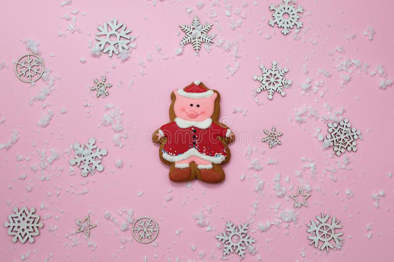 Cute Pig Cookie Gingerbread Symbol of Year and snowflakes on pink background. Christmas. Holiday Food Concept stock photo