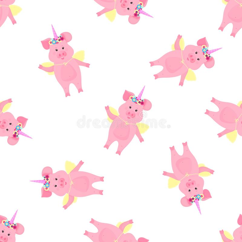 Cute pig in a costume of a fairytale unicorn with a horn and a flower wreath and wings. Funny animal seamless pattern for the vector illustration