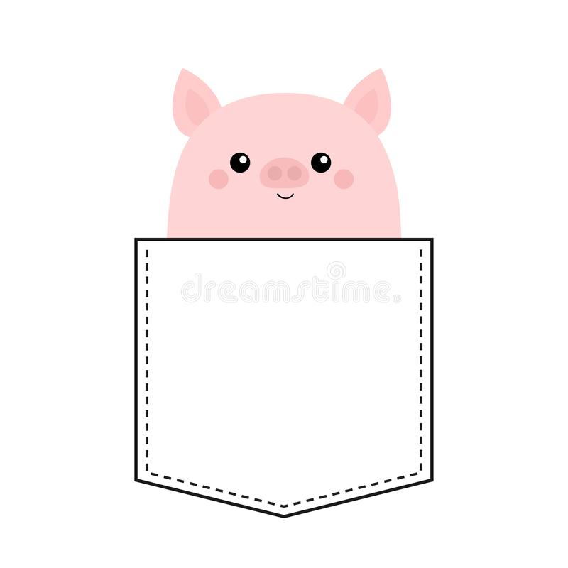 Cute pig face head in the pocket. Cartoon animals. Piggy piglet character. Dash line. Animal collection. White and black color. T-. Shirt design. Baby background stock illustration